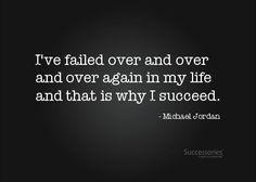 Ga semua orang bisa jd orang sukses tanpa adanya kegagalan..Kegagalan itu ibaratnya spt sebuah jembatan yg harus kita lewati supaya bisa sampai di kesuksesan. Seperti quotenya Michael Jordan ini...beliau sukses karena sudah pernah mengalami kegagalan demi kegagalan di hidupnya...Jadi jgn jadiin itu alasan untuk menghentikan langkah kita...jiayooooo...^_^