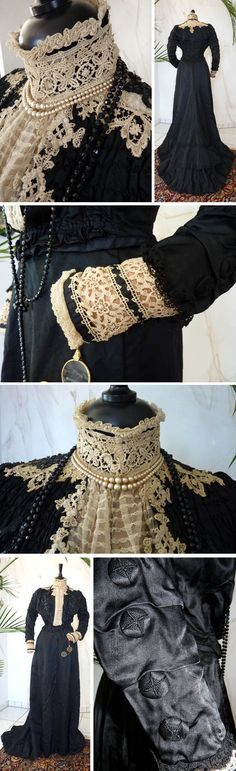 Dinner dress, Mrs. Clow, Banbury, England, ca. 1895. Cream and black lace, silk, sequins, & tulle, all handworked. Pocket in skirt. Back of train has cord with which the wearer could lift & carry it. Antique-Gown