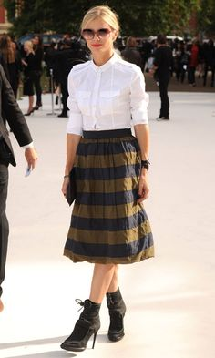Laura Bailey At The Burberry Prorsum Show At London Fashion Week SS13 - can't beat a classic white shirt!