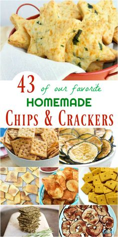 Did you know you can make chips and crackers at home? Today, we wanted to share 43 of our favorite Homemade Chips & Crackers with you. Homemade Chips, Homemade Crackers, Healthy Homemade Snacks, Healthy Crackers, Savory Crackers Recipe, Cracker Recipe, Healthy Chips, Veggie Chips, Love Food