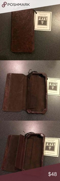🎉FLASH SALE Frye Iphone 5 leather bifold wallet Frye Leather iphone 5 5s bifold wallet case    NEW Frye Leather cellphone iPhone 5 Bifold Wallet Case Dark Brown Distressed  Original:$78  A beauty if you love Frye!! If you know and love Frye you know that the look is distressed imperfections. (Look at all the pictures) AS IS! Gorgeous piece! Ask any questions.   Frye, wallet, designer, women's, mens, cell, cellphone, iphone 5, cardholder, genuine leather, authentic, distressed, holder…