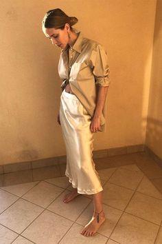 best slip skirt: Pernille Taisbaek wearing cream slip skirt Curated by @sommerswim