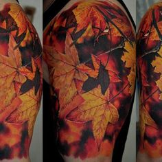 leaf tattoo (Holy crap this is the most realistic tat I've ever seen)