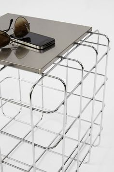 Square metal coffee table for living room WIRE by Ronda Design | #design Luca Roccadadria @rondadesignsrl