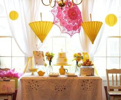 yellow and pink whimsical destination wedding reception decor