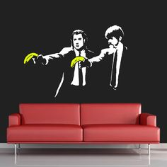 Banksy Pulp Fiction Stencil. Graffiti style Reusable Stencil. Banksy Replica Stencils Ideal for Painting Decorating walls & many other uses by IdealStencils on Etsy https://www.etsy.com/listing/204126124/banksy-pulp-fiction-stencil-graffiti