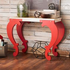 Scroll Leg Console Table red