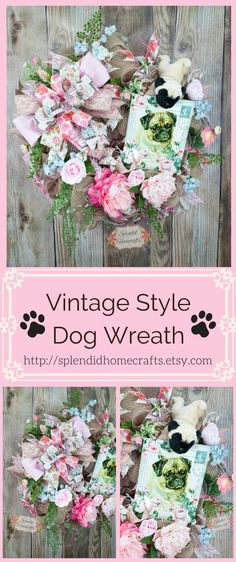 Dog Wreath, Spring Dog Wreath, Dog Mesh Wreath, Spring Floral Wreath, Pet Wreath, Vintage Wreath, Animal Lover Wreath, Dog Decor by Splendid Homecrafts. #wreath #dogdecor