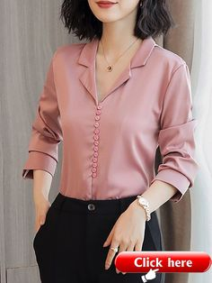 Long sleeve work solid buttoned shift chiffon blouse fashion in 2019 blusas, Sleeves Designs For Dresses, Dress Neck Designs, Stylish Dress Designs, Stylish Dresses, Blouse Designs, How To Wear Cardigan, How To Wear Blazers, Kurta Neck Design, Casual Outfits