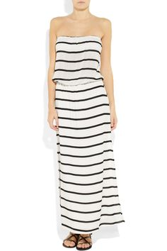 Stripped Strapless Maxi Dress