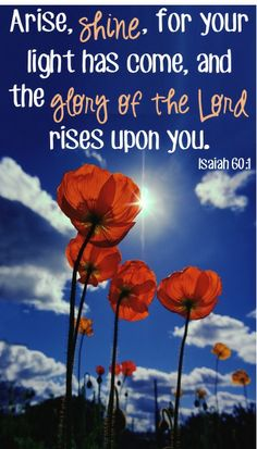 Arise, shine, for your light has come!