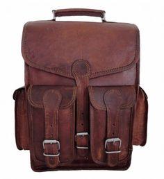 Men's Leather Vintage Backpack Shoulder Messenger Bag