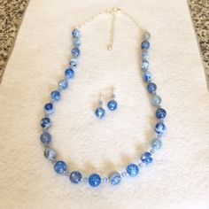 Blue Agate Necklace Set Agate Jewelry Set Blue Gemstone Necklace Earrings Beaded Blue Stone Statement Necklace Mothers Day Gift Birthday Her by BarbsBeadedJewelry on Etsy