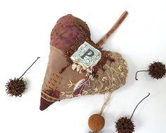 Brown heart III large fiber art ornament in brown by Cesart64