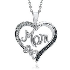 1/7ct TW Black & White Diamond Mom Heart Pendant in Sterling Silver
