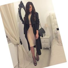 Winter Fashion Outfit OOTD Black Structured Coat Waterfall Overflow Fall Nude Bodycon Two Piece Crop Top Skirt Cage Sandals Style Fashionista Stylish Trend Swag Sophisticated Chic Elegant Classy Stunning DressLikeMila