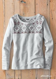 Shoreline Embroidered Sweatshirt | The loose-loop French terry cotton in this crew sweatshirt is soft and easy-wearing. Multi-colored embroidery accents the front and back yoke.