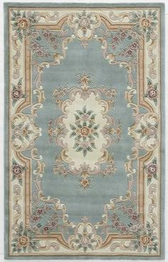 Rugs America New Aubusson 510-292 Light Green Area Rug