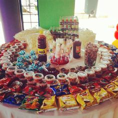 Party table ideas graduation New Ideas Mexican Candy Table, Mexican Snacks, Mexican Fiesta Party, Fiesta Theme Party, Festa Party, Mexican Birthday Parties, Fiesta Decorations, Baby Shower, Party Ideas
