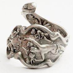 Unique Art Nouveau Cupid Irian Sterling Silver Spoon Ring, Handcrafted in Your Size