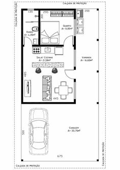 Love the central kitchen area! Garage Floor Plans, Small Floor Plans, House Floor Plans, Guest House Plans, Cabin Plans, Small House Plans, Apartment Layout, Apartment Plans, Narrow House