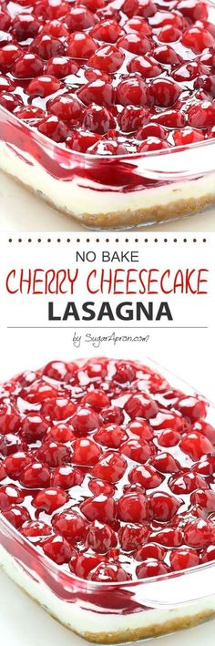 No Bake Cherry Cheesecake Dessert Lasagna Recipe via Sugar Apron - Dessert lasagna with graham cracker crust, cream cheese filling, pecans and cherry pie topping. #dessertfoodrecipes