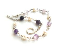 Black Friday Etsy / Cyber Monday Etsy Ombre Fluorite Pearl Bracelet, Sterling Silver, Wire Wrapped,  Gemstone. Handmade Jewelry Etsy. $38.00, via Etsy.