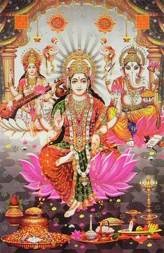 Lakshmi, Saraswati and Ganesha - (Poster with Glitter) - Hindu Posters (Reprint on Paper - Unframed)