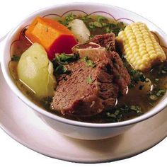 olla de carne (soup with beef, potatoes, carrots, chayote, plantains and yucca)