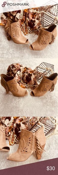 Taupe Fringe Booties by Indigo Rd- Never Worn! These awesome shoes are perfect for boho chic lovers! Indigo RD Shoes Ankle Boots & Booties