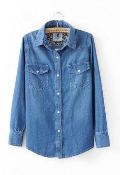 Dark Blue Floral Lining Denim Shirt