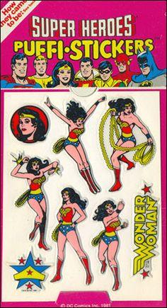 Super Heroes Wonder Woman Puffy Stickers - 1981. still got em'
