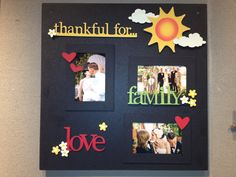 Thankful for board made with memo board, frames, and adornments by Roeda Studio.