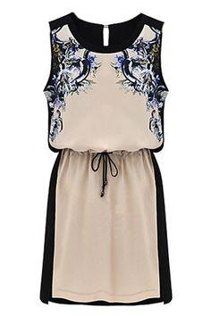 ROMWE | Contrast Color Retro Pattern Chiffon Dress, The Latest Street Fashion
