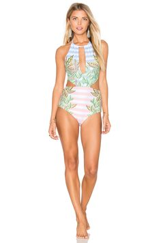 ae767561ea Shop for Mara Hoffman Wheatfield Slit Front One Piece Swimsuit in White    Blue at REVOLVE. Free day shipping and returns