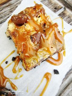 Snickers Oreo Caramel Bars... Aka all the good stuff slopped together into one dessert!!