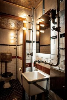 Today, industrial design styles are widely known and sound very familiar to our ears. We can easily find industrial design styles in cafe interior design, offices, barber shops, or even in private … Industrial Interior Design, Bar Interior, Industrial House, Industrial Interiors, Bathroom Interior, Industrial Style, Industrial Pipe, Vintage Industrial, Industrial Lighting
