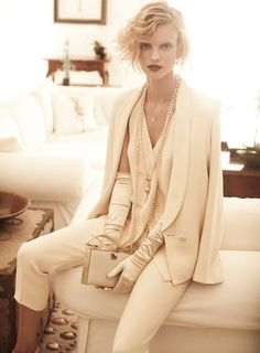 images of white pant suits for women | The Twenties - Elle Germany, June 2011