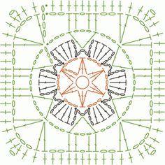 Flower square crochet chart