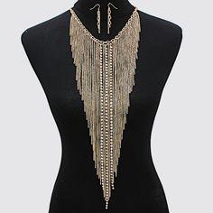 PWB0337 - Tassel fringe necklace set