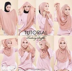 tutorial by tudung ruffle - Hijab Tutorials Square Hijab Tutorial, Simple Hijab Tutorial, Hijab Simple, Hijab Style Tutorial, Stylish Hijab, Hijab Casual, Hijab Chic, Hijab Outfit, Niqab Fashion
