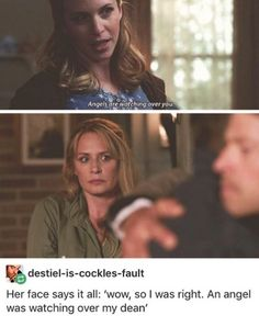 """no, actually her face says """"when i said angels were watching over you, i didn't mean for you to be gay for said angel"""""""