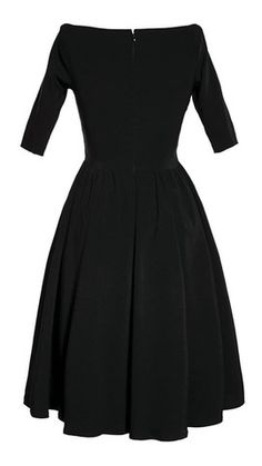 Black Loren Swing Dress:The Loren off the shoulder retro style pin-up dress is made of bengaline and has 3/4 sleeves with a wrap front. Very low cut and sexy! Dress features a full skirt and hidden back zipper, has a nice stretch with the bengaline material to hug you in all the right places. This little black dress is sure to turn heads!... $80.00