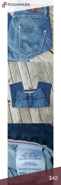 Levis Red Cut Off Jeans Levis Red Label Jeans Cut Off at  about knee length  So you can make them into the length you need them for Shorts Skinny Straight Leg 100% Cotton  Waist Size 32  Like New Condition Levi's Jeans Skinny