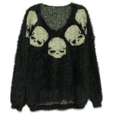 To find out about the Black Long Sleeve Skull Embroidery Mohair Sweater at SHEIN, part of our latest Sweaters ready to shop online today! Alternative Outfits, Alternative Fashion, Skull Sweater, Mohair Sweater, Estilo Hippy, Shirt Bluse, Mode Inspiration, Swagg, Aesthetic Clothes