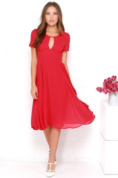 Moonlit Dance Red Midi Dress at Lulus.com! Cute Dresses For Party 0247c7749