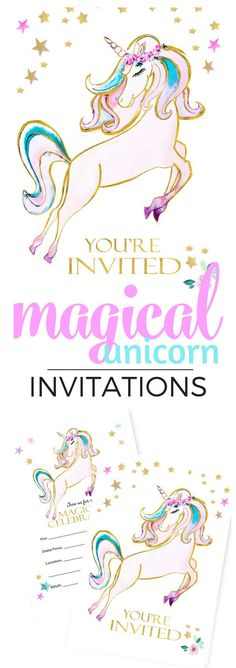 Magical Unicorn Party Invitations in Watercolors Magical Unicorn Party Invitations in Watercolors – TINSELBOX Unicorn Party Invites, Unicorn Themed Birthday Party, Party Invitations, 11th Birthday, Invitation Ideas, Birthday Ideas, Unicorn Kids, Unicorn Crafts, Kids Party Themes