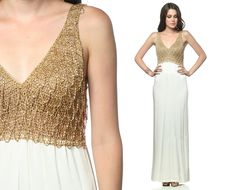 Gold Grecian Dress 70s Maxi Metallic Chain Mail 1970s Party Goddess Glam Ivory White Vintage Open Back Evening Column Long Gown Small Medium. $124.00, via Etsy.