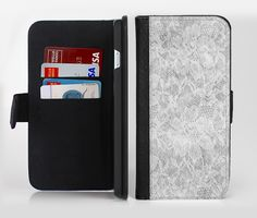 The White Textured Lace Ink-Fuzed Leather Folding Wallet Credit-Card Case for the Apple iPhone 6/6s, 6/6s Plus, 5/5s and 5c from DesignSkinz