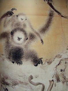 "長谷川等伯 ""枯木猿猴図""  HASEGAWA Tohaku important cultural property ""Koboku enkoh zu"" ""Monkeys on the old tree"""
